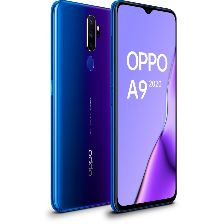 OPPO A9 2020 Space Purple, Diagonal Frontal y Trasera