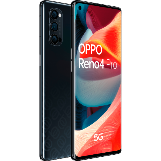 Oppo Reno 4 pro 5g, space black, frontal y trasera,