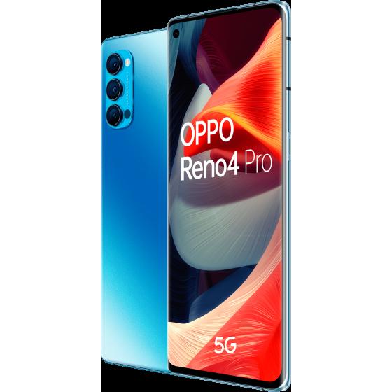 OPPO Reno 4 Pro 5G, galactic blue, trasera y frontal, diagonal