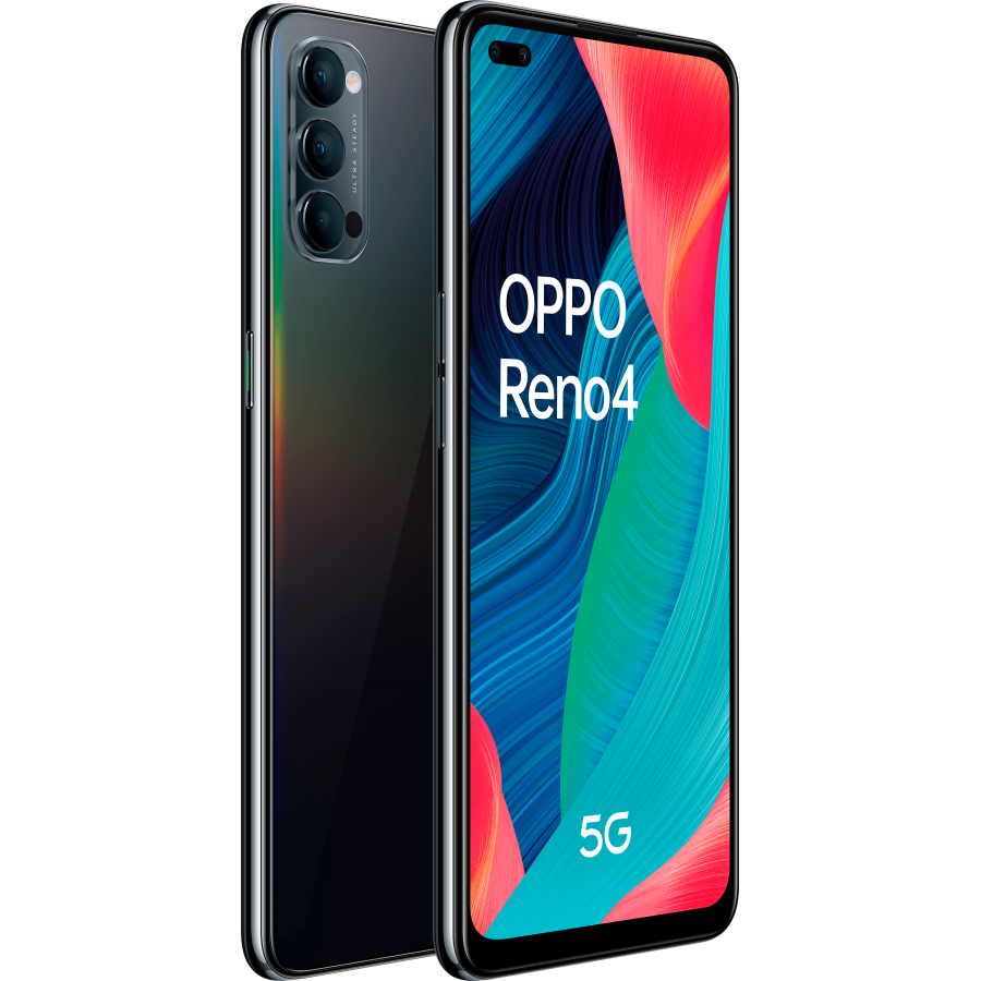 Oppo reno 4, space black, trasera y frontal diagonal.