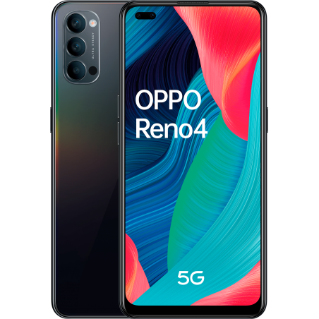 Oppo reno 4 5g, space black, trasera y frontal