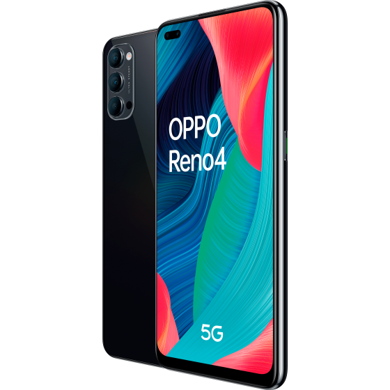 Oppo reno 4 5g, frontal y trasera, space black