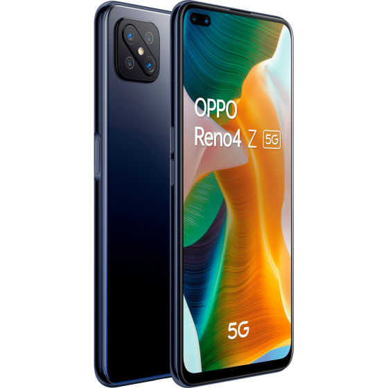 OPPO Reno 4Z 5G, Ink Black, trasera y frontal, diagonal