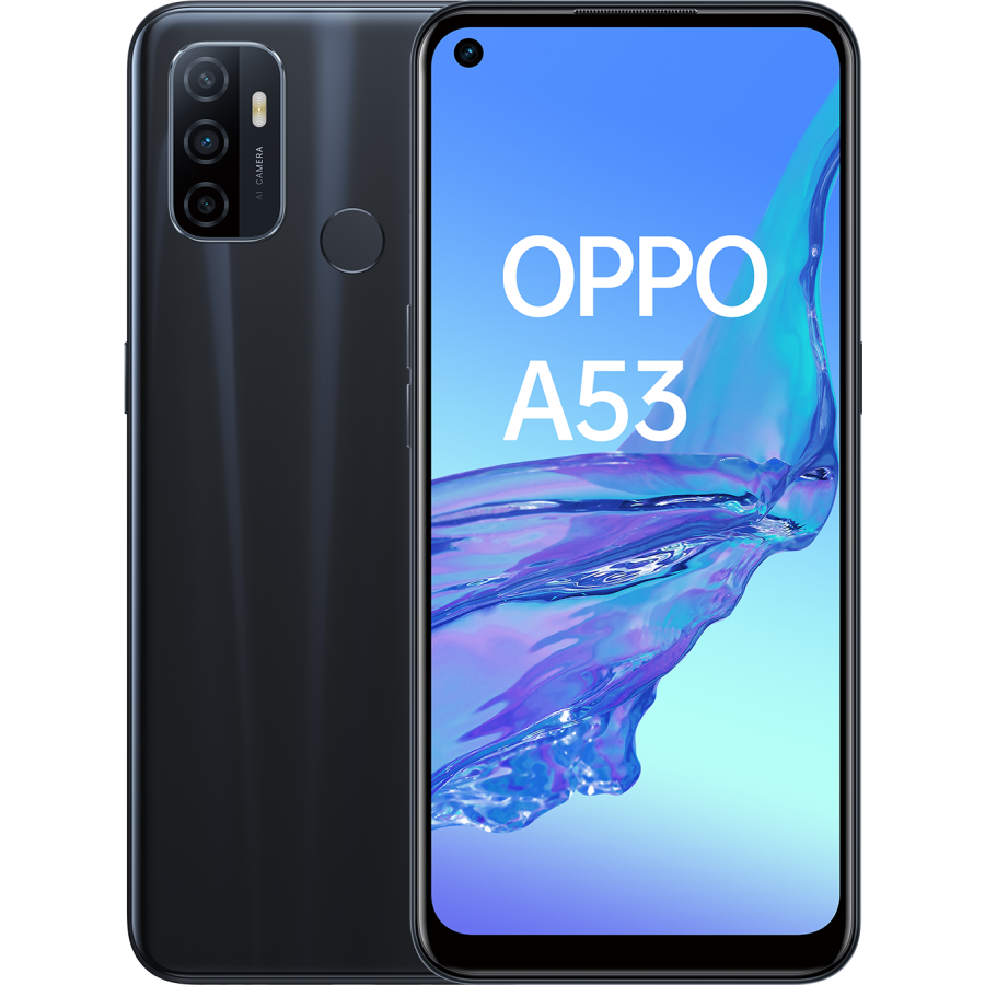 OPPO A 53 Electric Black, frontal trasera.