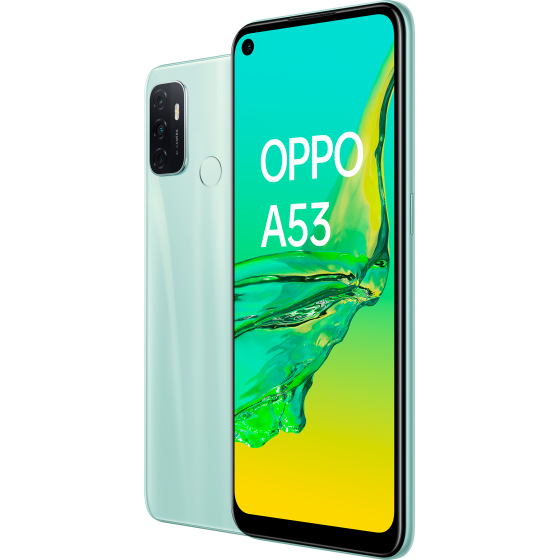OPPO A53 Mint Cream, frontal y trasera, diagonal