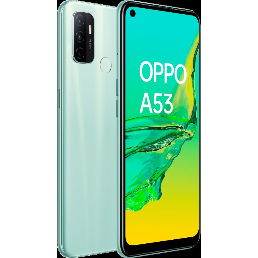 OPPO A53 Mint Cream, frontal y trasera, diagonal izquierda