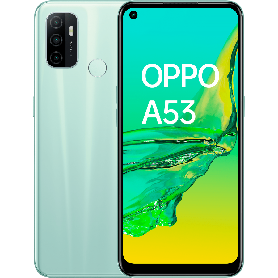 OPPO A53 Mint Cream, frontal y trasera