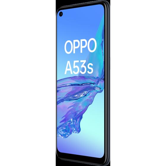 OPPO A53 S Electric Black, Frontal, Diagonal Izquierda