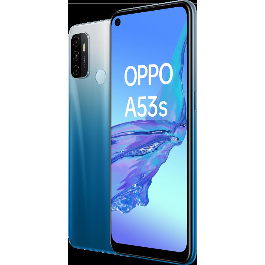 OPPO A53 S Fancy Blue, Frontal Trasera, Diagonal Izquierda